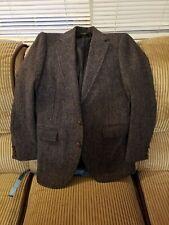 38R Harris Tweed Gray Herringbone Hunting Horn  Blazer Sport Coat Jacket