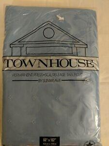 "Sunweave TOWNHOUSE Tablecloth 60"" x 120"" Blue - Soil Release Scotchgard"
