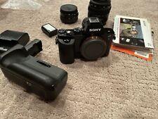 Sony Alpha a7S 12.2 MP Digital SLR Camera - Black 3 batteries grip + 2 lenses