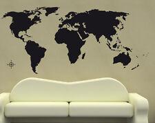 Premium Wandtattoo Weltkarte Erde schwarz 180 x 80cm Motiv #312