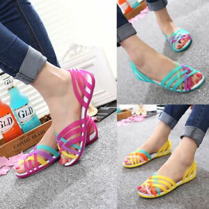 Ladies Open Toe Plastic Flat Woman Rainbow Jelly Sandals Beach Shoes Comfortable