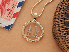 "Giraffe Pendant and Necklace, Rhodesia Coin Hand Cut,1"" in Dia., ( # 891 )"