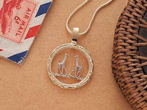 "Giraffe Pendant and Necklace, Rhodesia Coin Hand Cut,1"" in Dia., ( # 891 )"