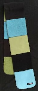 LANDS' END Fleece Patch Scarf Unisex - Blue and Green Block Colors - BRAND NEW -