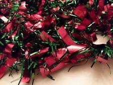 "Christmas Tinsel Garland Shiny Green Metallic Red 16 ' 8 """