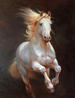 CHOP321 100% hand-painted abstract animal white horse art oil painting on canvas