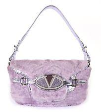 VALENTINO Lilac Persian Lamb Astrakhan Fur Crystal Logo Flap Shoulder Bag