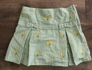 Gymboree Green Seersucker Skort Skirt Shorts Sunflower Size 6