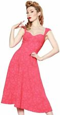 Modcloth Bettie Page Roman Holiday Lace Coral Pink Bustier Sweetheart Dress 12 L