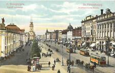 RUSSIA ST. PETERSBOURG STREET TROLLEY VIEW STAMP POSTCARD (c. 1910)