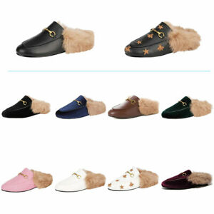 Mules for Women with Fur Leather Slip-on Loafer Backless Slingback Slipper Shoes