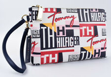 TOMMY HILFIGER Women's Saffiano Leather Clutch Wristlet Bag, Multi/Logo Print