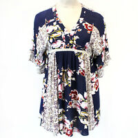 Umgee Boho Navy Mix Romantic Floral Bell Sleeves Buttons Tunic Dress Medium