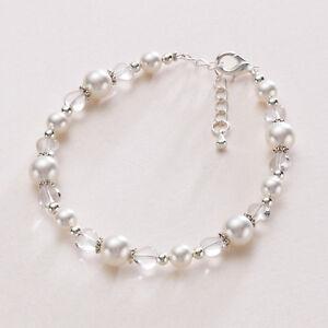 Belle Brides Pearl Bracelet & Heart Beads Wedding Jewellery ivory white silver.