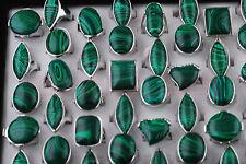 10pcs Womens mans Fashion Malachite Gemstone Tibet Silver Rings Lots