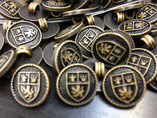 """13  English/British Crest Buttons Lightweight Plastic Faux Leather 15/MM 5/8"""""""