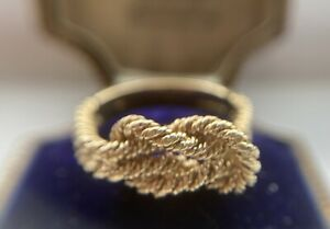 Fancy vintage twisted rope design ring, English hallmarks UK size P, US 7.5