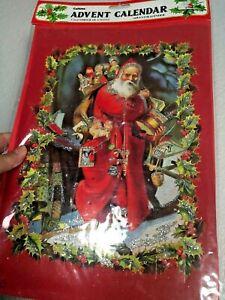 Vtg CALTIME England GIANT ADVENT CALENDAR Santa Sleigh Glitter MAIL ENVELOPE