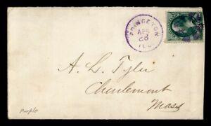 DR WHO 1880S PRINCETON IL FANCY CANCEL PURPLE TO CHARLEMONT MA  g41566