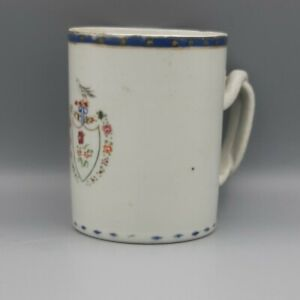 18th C. Chinese Export American Market Pseudo-Armorial Famille Rose Mug or Cann