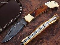 Great Looking Handmade 18.5cm Folding Pocket Knife Damascus Steel Giraffe Bone