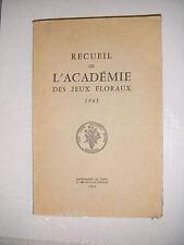 Recueil de l'académie des jeux floraux 1963 Poésie occitan français lyrisme