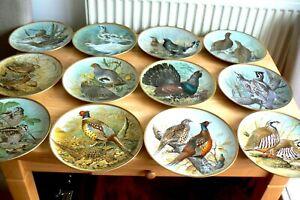 12 Franklin Mint Limoges Porcelain Plates GAMEBIRDS OF THE WORLD By Basil Ede