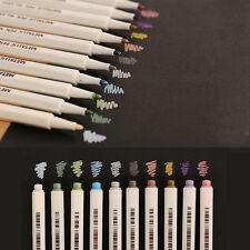 10Pcs Metallic Fine Pen Color DIY Album Pencil Marker Dauber Pen Set Waterproof