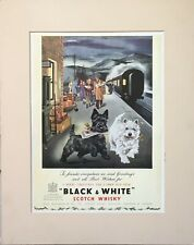 1948 Antique Print Black & White Scotch Whisky Old Advert.Merry Christmas.Dogs