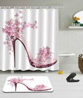Pink High heels Theme Waterproof Fabric Shower Curtain 12 Hooks With Bath Mat