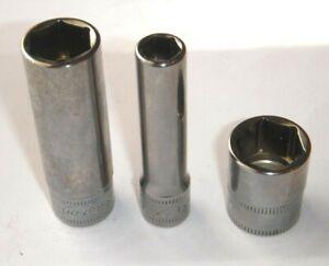 "NEW Snap-on USA 1/4"" Drive  6 PT CHROME Sockets DEEP 7MM - 12MM - SHALLOW 14MM"