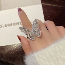 Fashion Exaggerated Butterfly Wings Ring with Clear Cubic Zirconia Adjustable