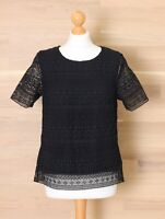 The White Company Women's Size 12 Black Lace Short Sleeve Top