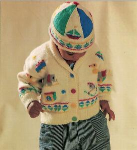 "Baby Girls Boys Toy Box Intarsia Sweater Hat KNITTING PATTERN DK 20 - 22"" boat"
