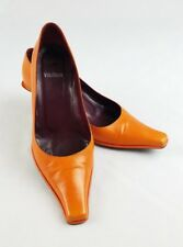 Vera Wang women 7 kitten heels pointy square toes leather Italy