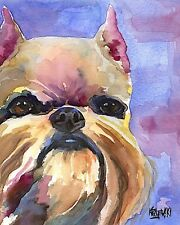 Brussels Griffon Dog 11x14 signed art Print Painting Rjk