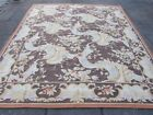 Old Hand Made French Design  Wool Beige Brown Large Original Aubusson 295X260cm