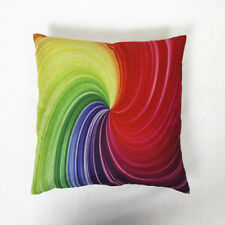 1x New Pillow Cover Composite Linen Colorful Circle Scatter Cushion Case 42x42cm