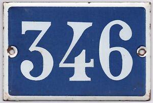 Old blue French house number 346 door gate plate plaque enamel steel metal sign