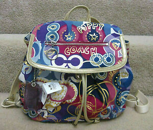 COACH 18341 POPPY SIGNATURE C FLAP BACKPACK BAG Multicolor NEW TAG