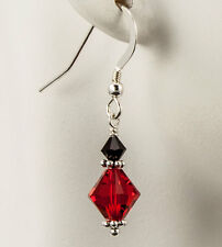 Red and Black Crystal Earrings Made with Swarovski Crystals Bali Sterling Silver