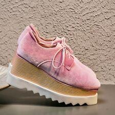Chic Retro Womens Velvet Lace Up Wedge High Heel Oxford Platform Shoes Plus Size