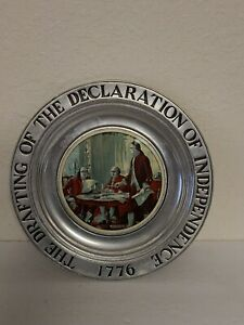 "Pewter The Drafting of the Declaration of Independence 76' Wilton 11"" Plate EUC"