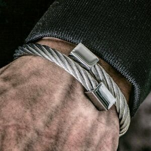 Mens Silver Stainless Steel Chunky Twisted Rope Bracelet Bangle Jewellery 6mm