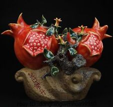China Pottery Porcelain Home Display Auspicious Fengshui Pomegranate Art Statue