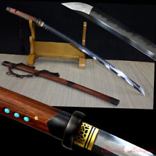 T10 Steel w Clay Tempered Japanese Sect Samurai Sword Katana Battle Sword #1393
