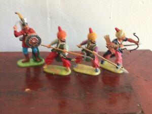 4 Turkish Janissaries. Preiser Elastolin 70mm factory painted vintage excel cond