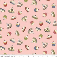 Bakery Paper Doll fabric PINK cupcakes c4354 + cakes 100% cotton BTY  Penny Rose