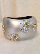 ALEXIS BITTAR WHITE SILVER Crystal Cuff Bracelet - PINK Stones