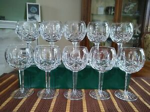 """Waterford Lismore 7 1/4"""" Balloon Red Wine Glasses Goblets (Set Of 10)"""